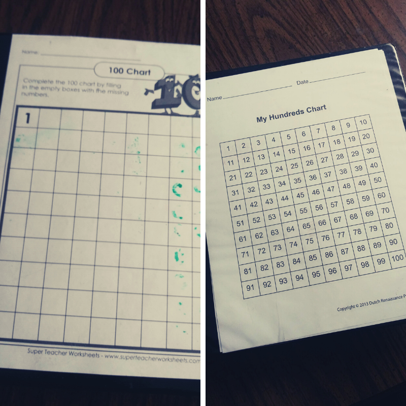 blank and full 100's learning chart in a three ring binder to use with dry erase marker.