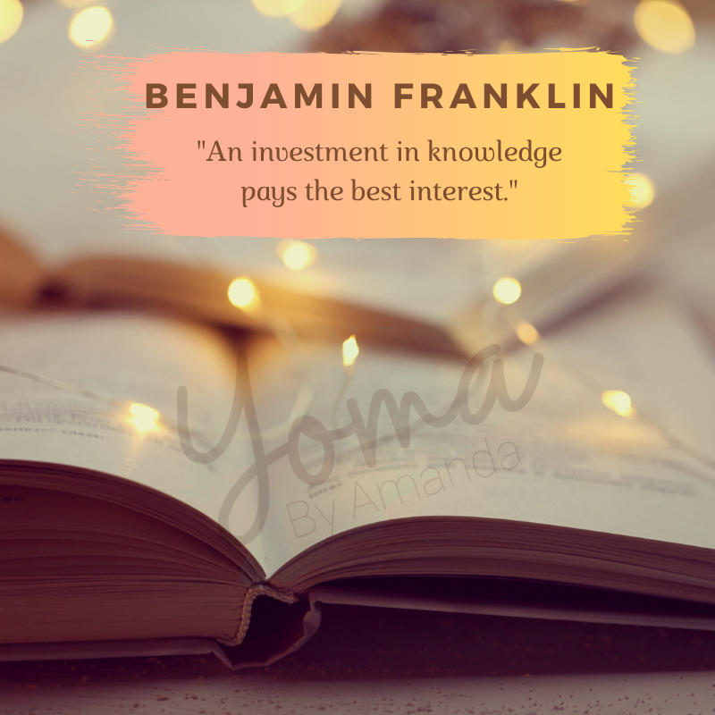 picture of a book and pretty lights with a quote by Benjamin Franklin.