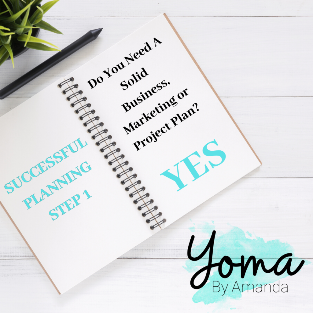 white project book with teal blue and black letters.  Asking a questions for successful planning.
